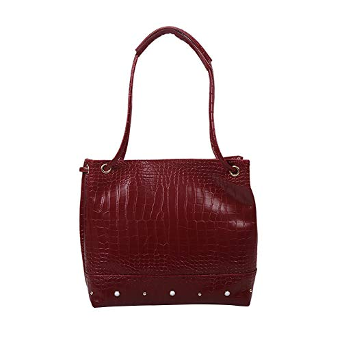 Retro Alligator Pattern PU Leather Handbags Women Solid Color Large Capacity Portable Totes Travel Shopping Shoulder Top-handle Bags
