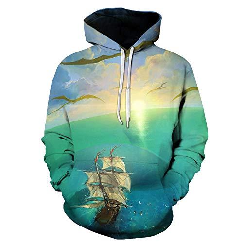ITPDJKE Hoodie, World Ocean zeilboot vliegtuig 3D digitale print unisex pullover tas trekkoord losse ritssluiting casual lange mouwen jas