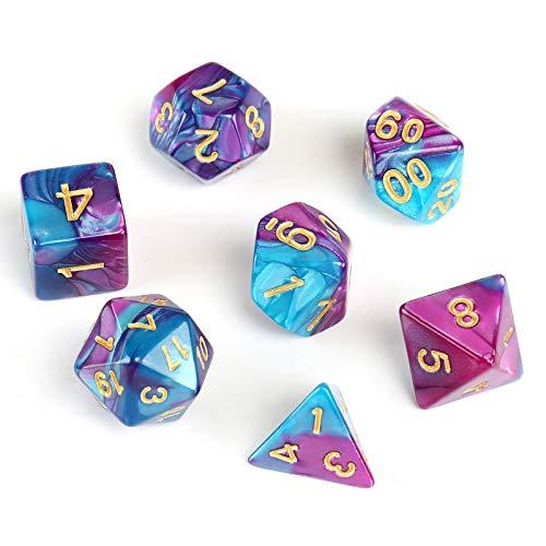 GWHOLE 7 Pezzi Dadi Poliedrici per Giochi di Ruolo con Giochi da Tavolo Dungeons And Dragons con Sacchetto Nero, Blu Violaceo