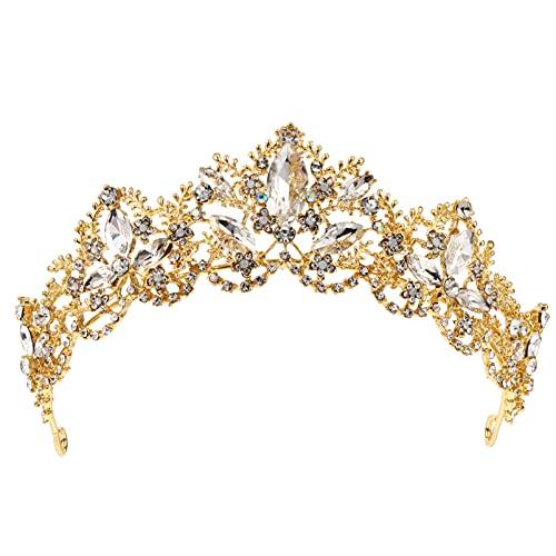 Minkissy Real Strass Tiara de Cristal Coroa De Noiva Tiara Da Princesa Coroa para As Mulheres Banquete de Aniversário de Casamento Acessórios Para O Cabelo de Ouro