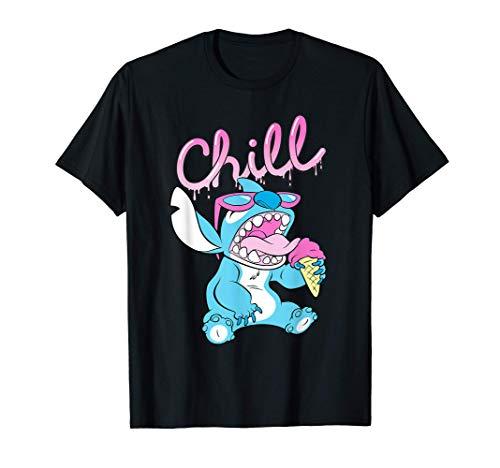 Disney Lilo and Stitch Neon Ice Cream Chill Drip Camiseta