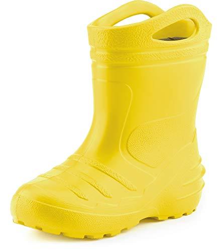 Ladeheid Children's Girl's Boy's EVA Extra Light Wellington Boots Rainy Wellies Rain Boots KL051 (Yellow, 7 UK Child)