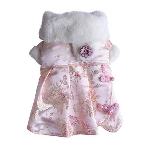 Smniao Hunde Kostüm Winter Princess Kleider für Kleine Hunde Chihuahua Pullover Sweater, passt Hunde Gewicht unter 9 KG (L, Rosa)