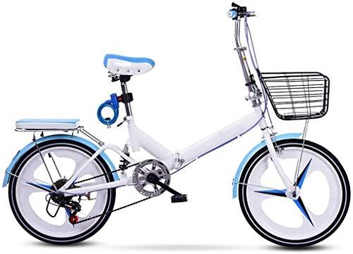 20 Pulgadas Bicicleta Bici Ciudad Plegables Adulto Hombre Mujer, Bicicleta de Montaña Btt MTB Ligero Folding Mountain City Bike Doble Suspension Bicicleta Urbana Portátil, H057ZJ
