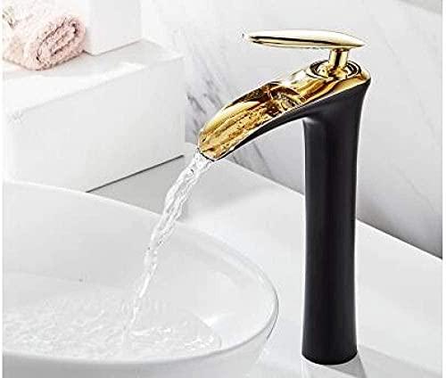 Grifo grifos del fregadero cascada baño grifo de la sola mano grifo del lavabo del baño del oro blanco grifo del fregadero de latón grúa de agua plata blanco y cromo S China-China_Black_and_Gold