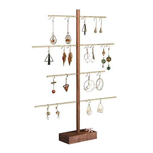 OMING Jewelry Boxes 4-Tier Brass-Tone Metal Earring Necklace Display Stand Wooden Necklace Rack Jewelry Display Props Earrings Rack Earring Hanger jewelry box for women (Color : Brown)