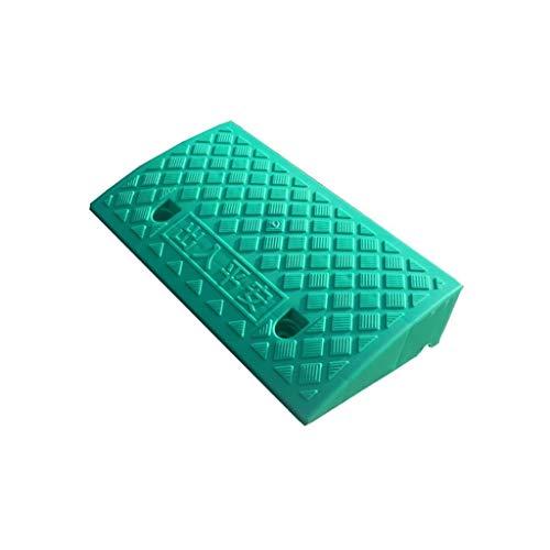 Tragbare Rampenmatte, grüne Kunststoffschwellenrampen Kinderwagen Roller Step Pad Indoor Outdoor Bordstein Rampen Höhe: 7-13cm (Color : Green, Size : 50 * 27 * 9CM)