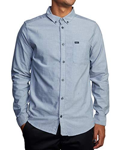 RVCA Herren Oxford Long Sleeve Shirt Hemd mit Button-Down-Kragen, Pavé-Fassung, X-Klein