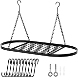 X Home 32-Inch Hanging Pot Racks for Kitchen Ceiling with 10 Removable Hooks, for Kitchen Storage & Organization, Ceiling Mounted, Black