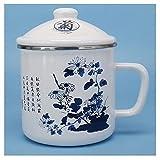 tazas para niños Taza de café de la taza de estilo chino Taza de cerámica de cerámica, taza de té grande para oficina y taza de café para el hogar Taza blanca de esmalte de microondas adecuado taza