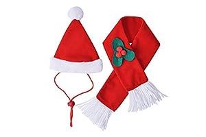 BINGPET Costume de Noël pour Chat avec écharpe et Chapeau de Père Noël Accessoires de Vacances pour Chaton, Chiot, Chat, Petit Chien
