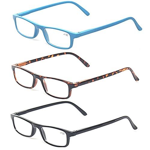Gafas de Lectura, Gafas de Lectura de Moda de 3 unids, Bloqueo de luz Azul, vidrios de Marco pequeños, anteojos de la bisagra de Primavera for Hombres y Mujeres (Color : +100, Size : 3 Pairs Mix)