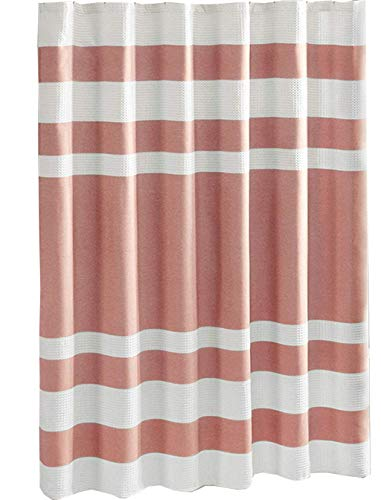 Spa Waffle Weave Striped Fabric Shower Curtain , Classic Shower Curtains for Bathroom , 72 X 72 , Coral