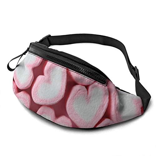 Damen Hüfttasche Bunte Sweet Candy Marshmallow Hüfttaschen Damen mit Kopfhöreranschluss und verstellbaren Trägern Verstellbare Hüfttasche für Reisen Sport Wandern