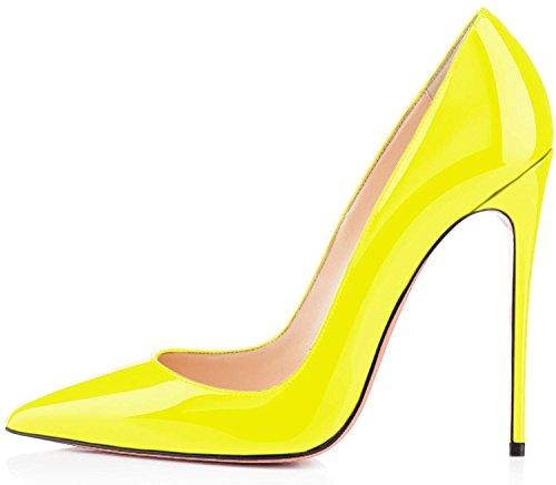 EDEFS Klassische Damen Lack Pumps Stilettos High Heels Abend Schuhe Stilettos 12CM Gelb Größe EU40