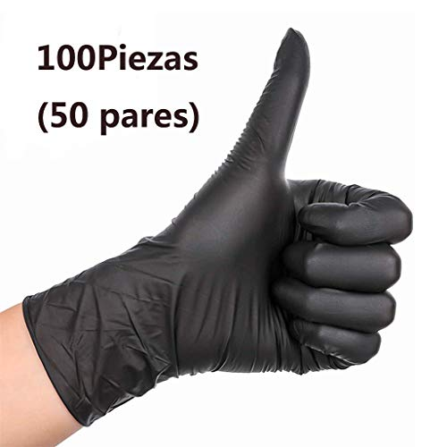 Negro Guantes Desechables Guantes de nitrilo sin Polvo, L, Caja 100 Piezas