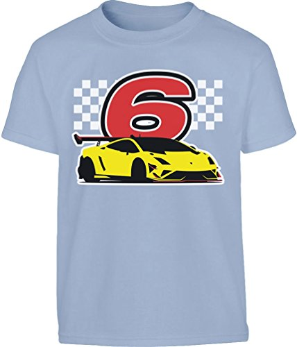 Geschenk für Jungs 6 Geburtstag mit Auto Kleinkind Kinder T-Shirt 128 Hellblau