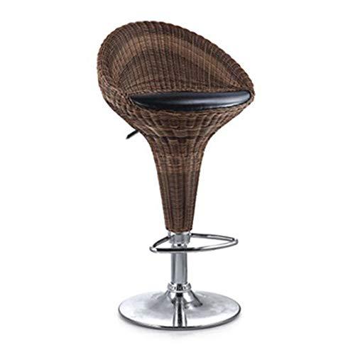 Sgabello alto da ristorante Sgabello alto, schienale in rattan Pedana di base cromata, regolazione di sollevamento, sedile bar, bancone della colazione, sedie da cucina Sedia alta per il tempo libero