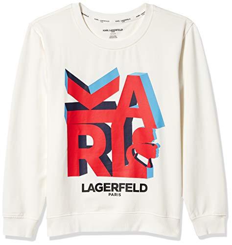 Karl Lagerfeld Paris Damen 3D Karl Sweatshirt, Weiß/Flame Scarlet, Groß