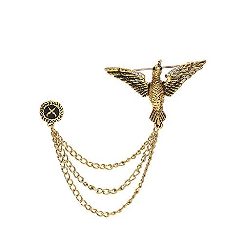 SCDZS Fashion Eagle Broche Traje de los Hombres Accesorios Cadena Cadena Personalizada Vestido de Novia Abrigo Largo Patrón de Corsage