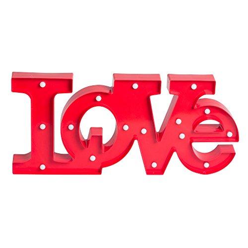 TABLE PASSION - Lettres Lumineuses Deco 16 Ampoules LED Love Rouge 54 x 25 cm