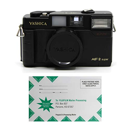 YASHICA MF-2 Super 35mm Film Camera with 38mm f/3.8 Lens by Kokoti (Black) with Fujifilm Prepaid Film Development Mailer (2 Items)