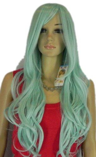 Qiyun Bleu Vert Longue Ondule Boucle Resistant a la Chaleur Fibre Synthetique Cheveux Complete Cosplay Anime Costume Perruque