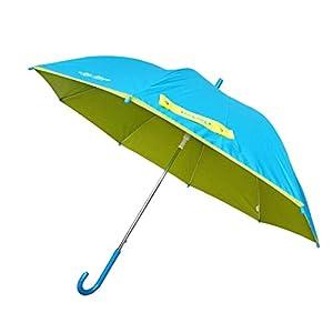 子供用 日傘 雨傘 キッズ UV99%カット 遮光 熱中症対策 子ども 男の子 女の子 パラソル 傘 かさ 長傘 UV対策 夏 紫外線対策 (サックス×ライム)