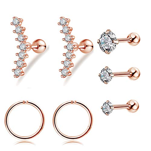FIBO STEEL 16G 7Pcs Cartilage Tragus Earrings Set for Women Helix Conch Daith Piercing Jewelry