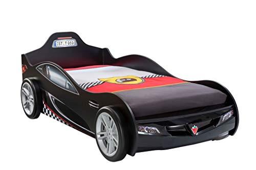 Froschkönig24 Cilek Coupe Autobett Kinderbett Bett Rennfahrerbett Schwarz, Matratze:ohne