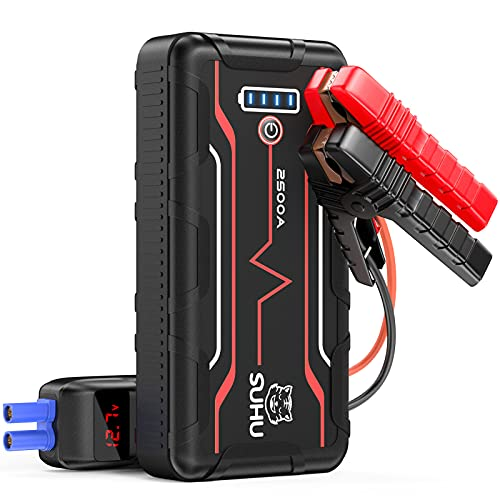 SUHU G57 Battery Jump Starter, 2500 Amp 20800mAh (Up to 9.0L Gas and 7.5L Diesel Engines) Car Jump Starter with LED Flashlight 12V Auto Lithium Portable Battery Pack, Long Standby Type-C Input Port