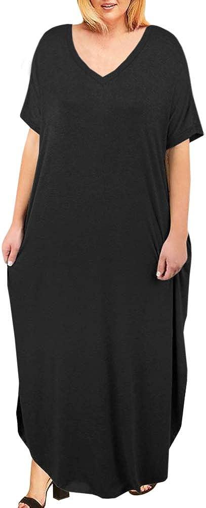 Women's Plus Size Maxi Dresses Short Sleeve Casual Summer Split T Shirt Long Dress with Pockets