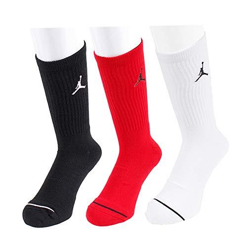 Nike U J Everyday MAX Crew 3PR Socks, Black/White/Gym red, XL