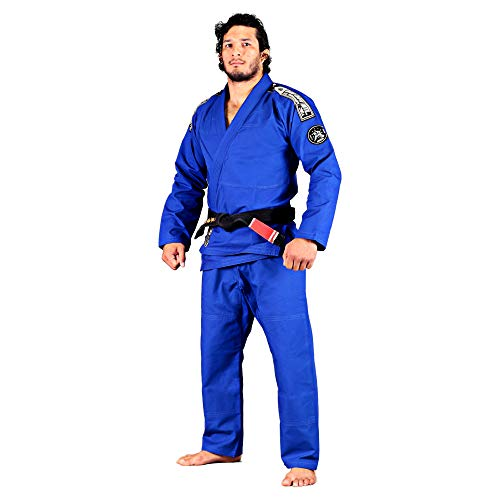 Bad Boy - Foundation BJJ Gi - Ultra Light Weight, 100% Rip Stop, Preshrunk, White Belt Included - (Blue - A5)