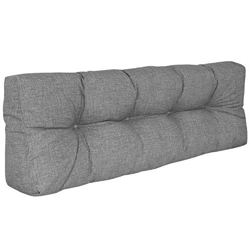 DILUMA | Cojín de Respaldo Largo 120x40 cm Gris | Cojín Confort para sofás palés Repelente a Las Manchas