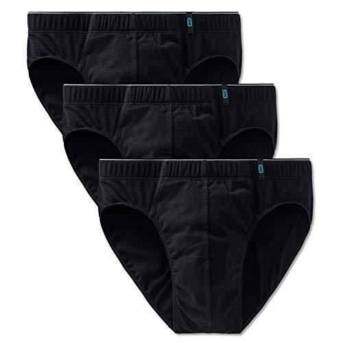 Schiesser Herren Slip 3er Pack - Supermini, Cotton Stretch, Uni, Serie 95/5 (schwarz (000), L (Large, 3-Pack))