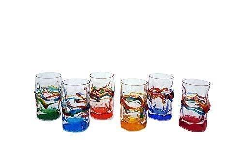 "Set 6 Bicchieri liquore Jazz""Source"" in Vetro Dipinti a Mano Murano Style Venezia"