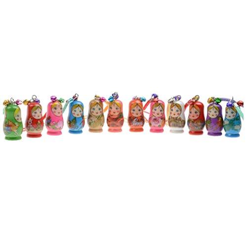 NUOBESTY 12 Stücke Holz Matroschka Schlüsselanhänger Weihnachten Matryoshka Matrjoschka Spielzeug Taschenanhänger Schlüsselbund für Kinder
