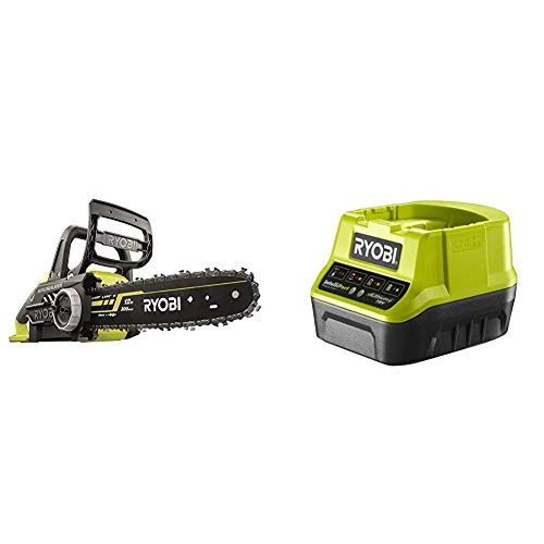 Ryobi OCS1830 18 V 30 cm Bar ONE+ Cordless Brushless Chain Saw & RC18120 18V ONE+ Compact Charger