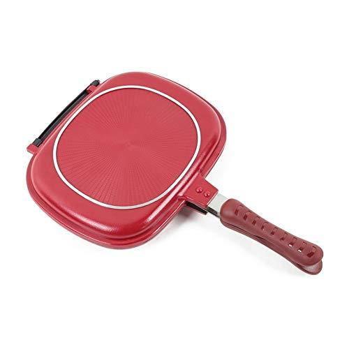 RJJX Home 28cm Double Face Frying Pan, Barbecue antiadhésifs Ustensile de Cuisine, Stable et Durable de Cuisine Ustensiles de Confiance, for extérieur Maison Barbecue