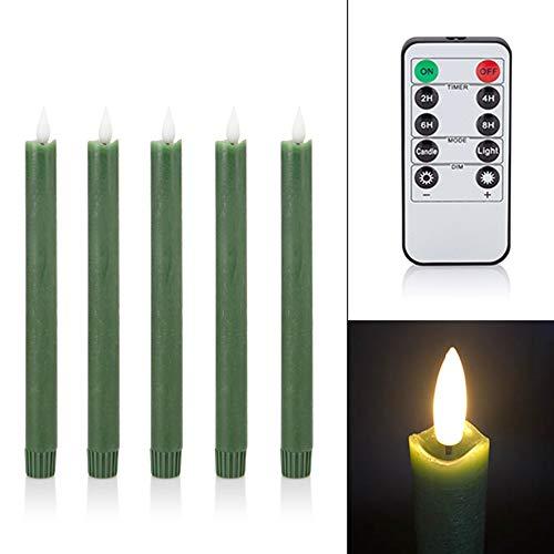 5 LED Stabkerzen Tafelkerzen mit Echtflamme, Fernbedienung, Dimmer und Timer aus Echtwachs - viele Farben wählbar (Grün)