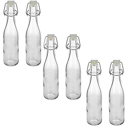 mikken 6 botellas de cristal de 330 ml con cierre de clip de plástico, incluye etiquetas de rotulación.