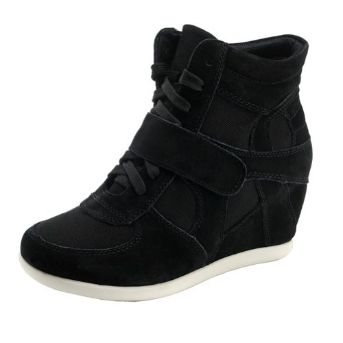 rismart Mujer Tacón De Cuña Velcro Brogue Casual Ante Zapatillas Zapatos 8522(Negro,EU39)