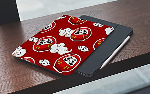 MEMETARO Schützhülle Kompatibel iPad 10.2 Inch 7th Generation 2019/2020,Japan Kawaii Muster mit Wolken und Daruma Puppe Smart Case Rückseite Auto Wake/Sleep Kompatibel