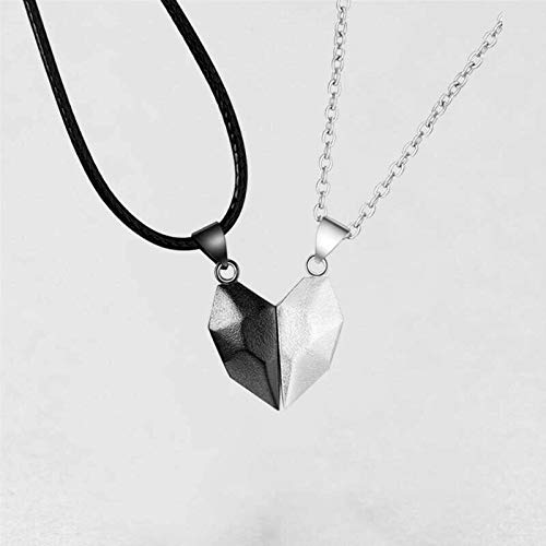 Two Souls One Heart Magnetic Necklace Couple Neck Chain Lightweight Simple Pendant Gift White+Black