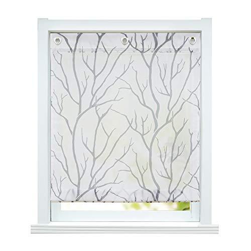 ESLIR Raffrollo ohne Bohren Raffgardine Transparent mit Ösen Gardinen mit U-Haken Ösenrollo Modern Vorhänge Weiß-Grau BxH 80x140cm 1 Stück