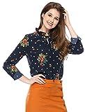 Allegra K Blusa Top Floral De Lunares con Botones Corbata con Volantes Escote para Mujeres Azul XL