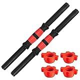 Barras de Mancuernas 35 cm,Tianher 2 Piezas Barras de Mancuernas para Pesas Gimnasio Entrenamiento con 4 Collares Accesorios Levantamiento Fuerza Equipo de Fitness.