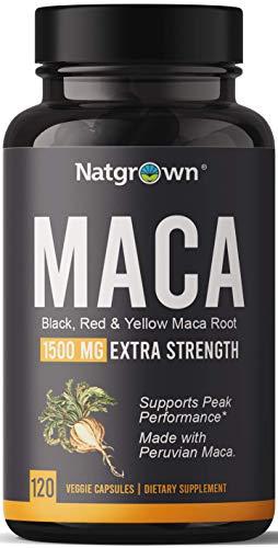 Organic Maca Root Powder Capsules 1500 mg with Black + Red + Yellow Peruvian Maca Root Extract Supplement for Men and Women - Vegan Pills