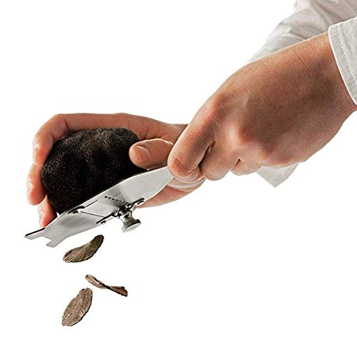 Relaxbx Chocolade Scheerapparaat Roestvrij Staal Truffle Slicer Scherpe Knoflook Kaas Paddestoelen Groenten Fruit Cutters met Verstelbare Scherpe Blade, Beuken Houten Antislip Grip voor Desse